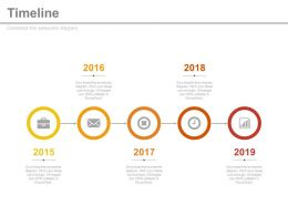Business Growth Analysis Timeline with Years Powerpoint Slides