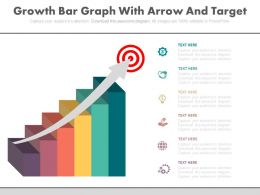 Business Growth Bar Graph With Arrow And Target Board Powerpoint Slides