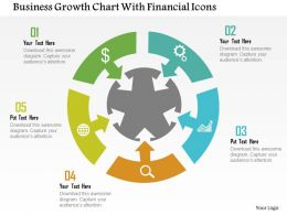 Business Growth Chart With Financial Icons Flat Powerpoint Design