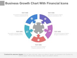 Business Growth Chart With Financial Icons Powerpoint Slides