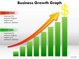 business growth graph bar chart with arrow going up and dollar sign powerpoint templates 0712