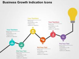 Business Growth Indication Icons Flat Powerpoint Design