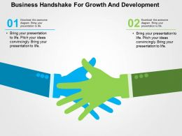 Business Handshake For Growth And Development Flat Powerpoint Design
