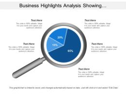Business Highlights Analysis Showing Magnifying Glass With Options