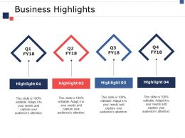 Business Highlights Ppt Summary Graphics Template