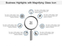 Business Highlights With Magnifying Glass Icon