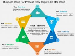 Business Icons For Process Flow Target Like Mail Icons Flat Powerpoint Design