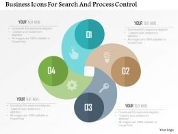 Business Icons For Search And Process Control Flat Powerpoint Design
