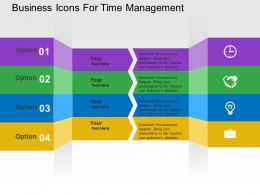 Business Icons For Time Management Flat Powerpoint Design