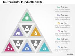 Business Icons In Pyramid Shape Flat Powerpoint Design