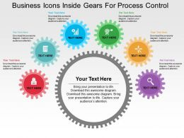 Business Icons Inside Gears For Process Control Flat Powerpoint Design