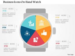 Business Icons On Hand Watch Flat Powerpoint Design
