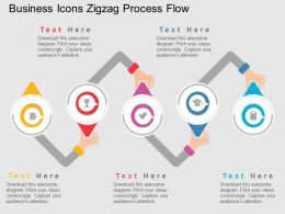 Business Icons Zigzag Process Flow Flat Powerpoint Design