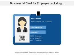 Business Id Card For Employee Including Designation And Other Require Details