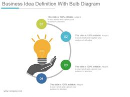 Business Idea Definition With Bulb Diagram Powerpoint Slide Background