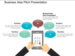 Business Idea Pitch Presentation Ppt Powerpoint Presentation Infographic Template Tips Cpb