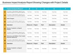 Business Impact Analysis Report Showing Changes With Project Details