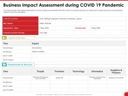 Business Impact Assessment During COVID 19 Pandemic Critical Function Ppt Powerpoint Presentation File Good