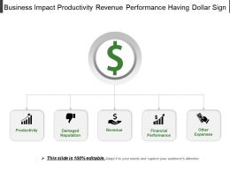 Business Impact Productivity Revenue Performance Having Dollar Sign
