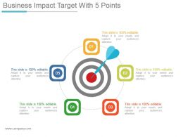 Business Impact Target With 5 Points Powerpoint Slide Background