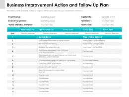 Business Improvement Action And Follow Up Plan
