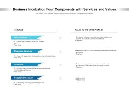 Business Incubation Four Components With Services And Values