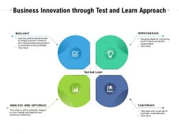 Business Innovation Through Test And Learn Approach