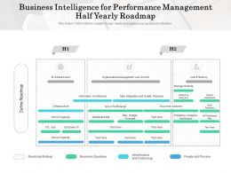 Business Intelligence For Performance Management Half Yearly Roadmap