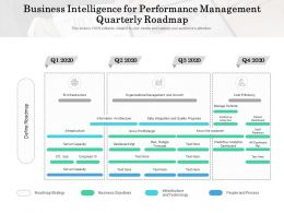 Business Intelligence For Performance Management Quarterly Roadmap