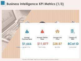 Business Intelligence KPI Metrics Average Unit Ppt Powerpoint Presentation Shapes