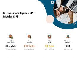 Business Intelligence KPI Metrics Traffic Weekly Ppt Presentation Model
