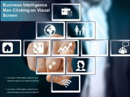 Business Intelligence Man Clicking On Visual Screen