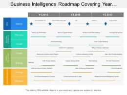 Business Intelligence Roadmap Covering Year Timeline Of Growth Strategy And Efficiency