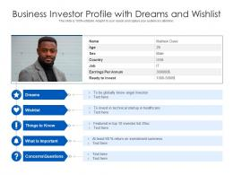 Business Investor Profile With Dreams And Wishlist
