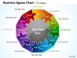 business jigsaw chart 12 stages powerpoint templates graphics slides 0712