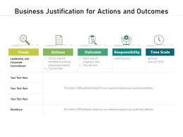 Business Justification For Actions And Outcomes