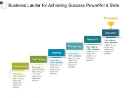 Business Ladder For Achieving Success Powerpoint Slide