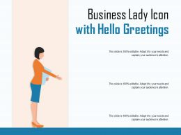 Business Lady Icon With Hello Greetings