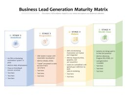Business Lead Generation Maturity Matrix
