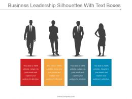 Business Leadership Silhouettes With Text Boxes Ppt Diagrams