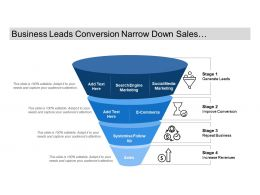Business Leads Conversion Narrow Down Sales Funnel With Icons