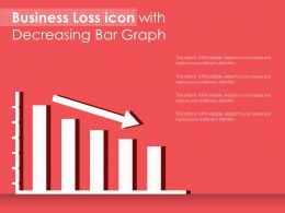 Business Loss Icon With Decreasing Bar Graph