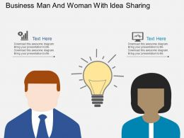 Business Man And Woman With Idea Sharing Flat Powerpoint Design
