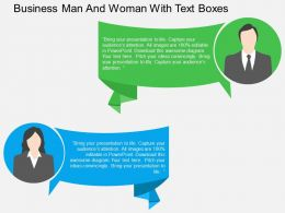 Business Man And Woman With Text Boxes Flat Powerpoint Design