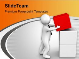 Business Man Arranges Cubes Business Development PowerPoint Templates PPT Themes And Graphics 0213