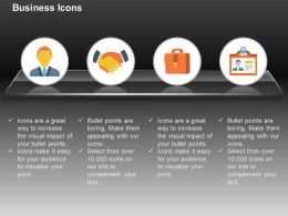 Business Man Deal Suitcase Identity Card Ppt Icons Graphics