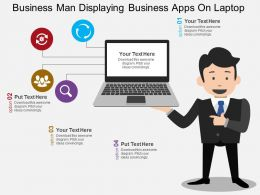 Business Man Displaying Business Apps On Laptop Flat Powerpoint Design