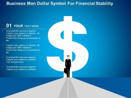 Business Man Dollar Symbol For Financial Stability Flat Powerpoint Design