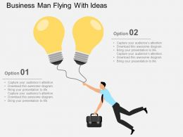 Business Man Flying With Ideas Flat Powerpoint Design