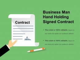 Business Man Hand Holding Signed Contract Example Of Ppt